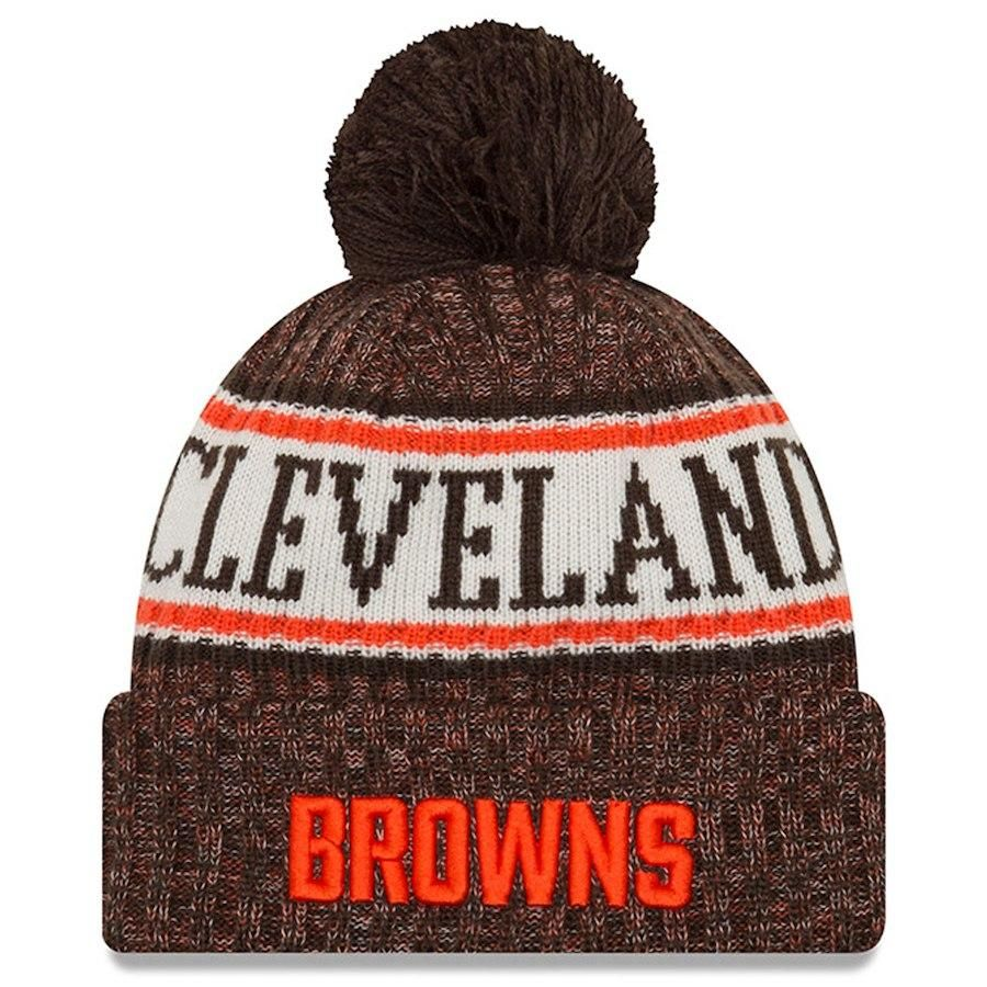 1f4aa8a0 Cleveland Browns New Era Brown 2018 NFL Sideline Official Sport Knit ...