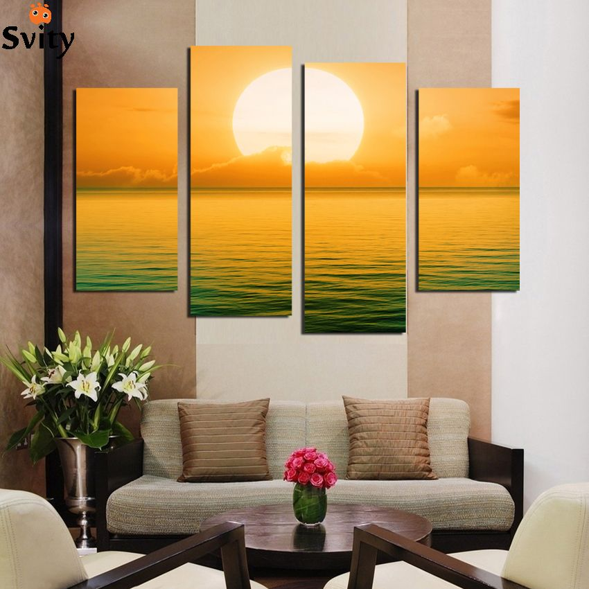 Printed sunset Seascape modular picture sea waves beach canvas ...