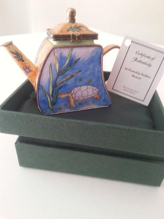 Kelvin Chen Miniature Teapot Sea Turtle U0026 Seaweed Hinged Lid Enamel On  Copper Beautiful Enamel Over Photo Gallery