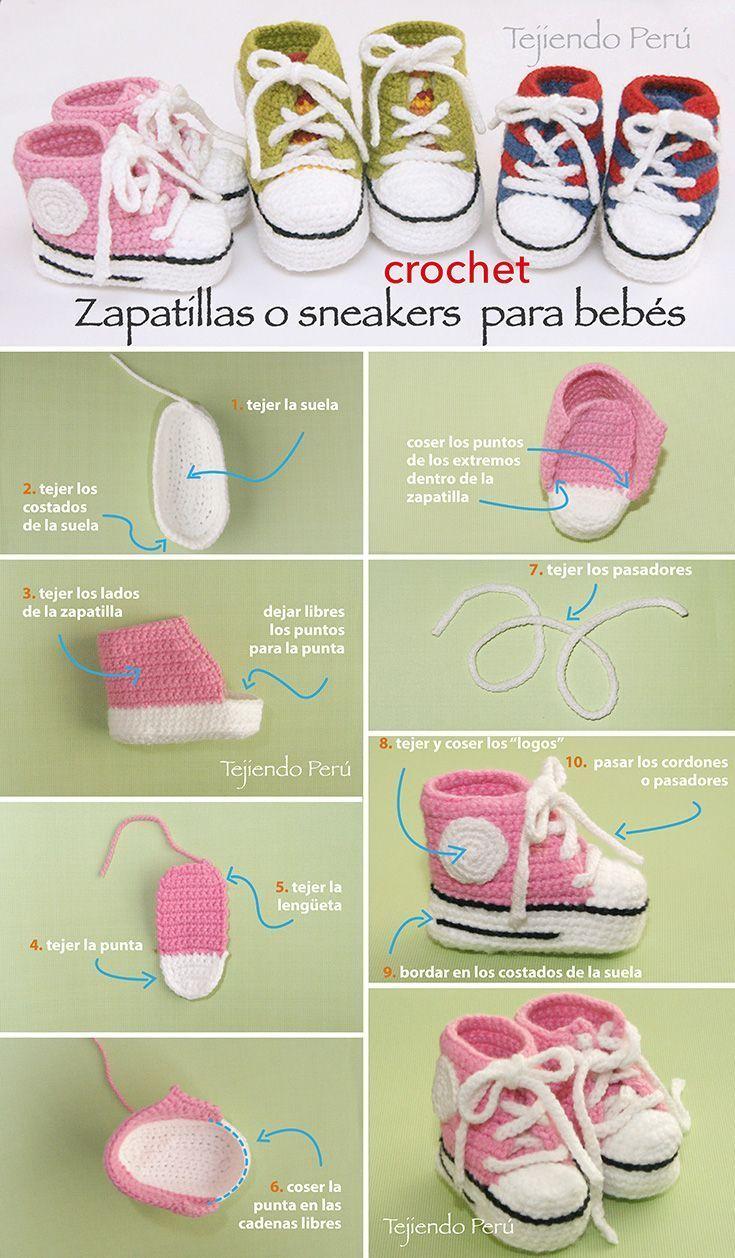 Sneakers o zapatillas para bebés tejidas a crochet! Paso a paso con video tutorial :): #crochetbabyshoes