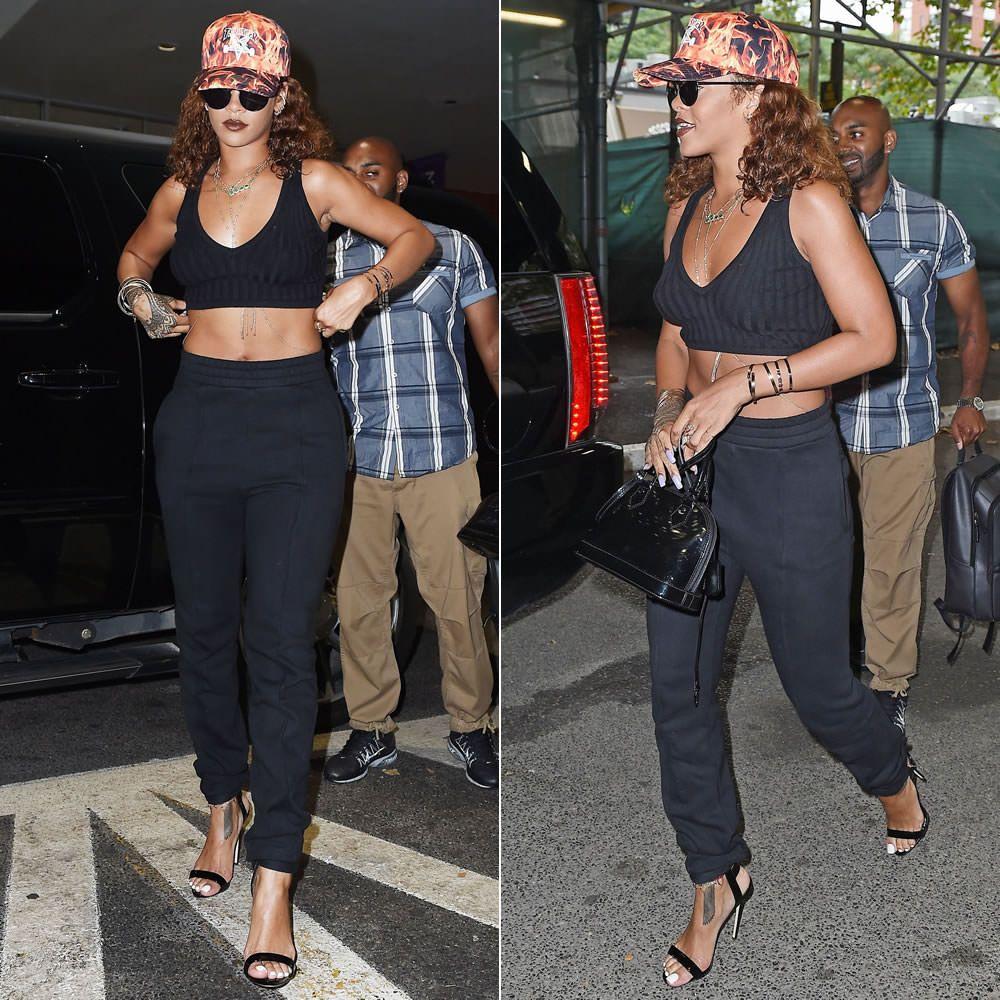 Black sandals rihanna - Rihanna Wearing Thrasher Inferno Flames Cap Le Specs Wild Child Black Sunglasses Vetements Black