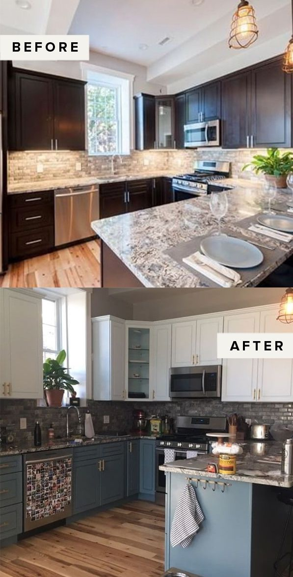 Easy Weekend Project DIY Painted Cabinets - Simple kitchen remodel, Diy kitchen remodel, Kitchen design, Kitchen renovation, New kitchen cabinets, Kitchen remodeling projects - At one point or another, most of us have endured the orangey hue of builder grade or dated cabinets, both in the