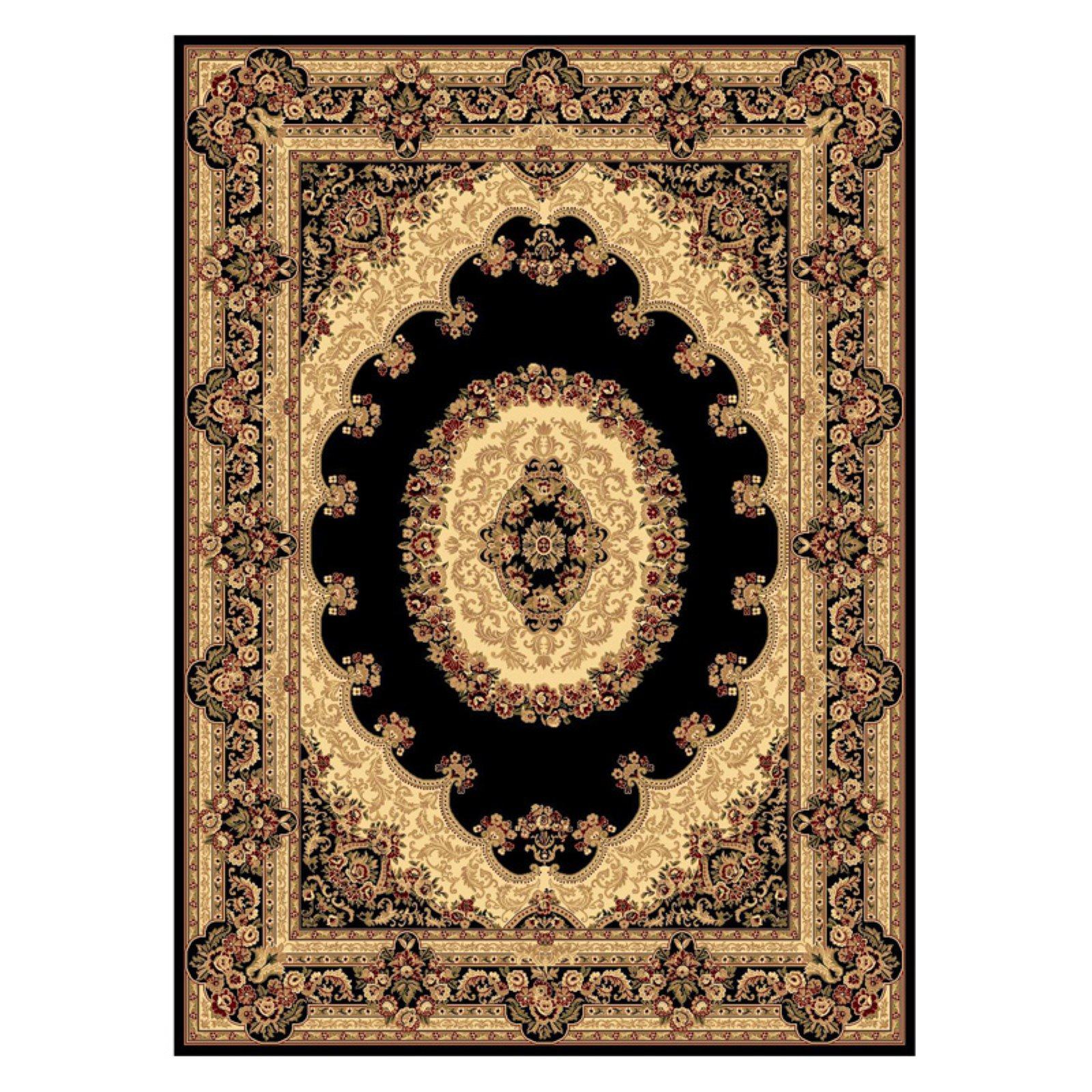 Rugs America New Vision 807 Indoor Area Rug Black Cream Area