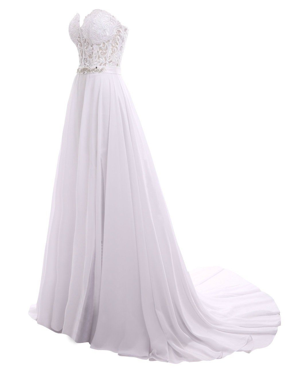 Fluorodine womens lace sweetheart long a line split chiffon prom