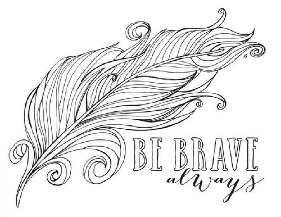 feather coloring pages - always be brave feather coloring pages for kids abstract