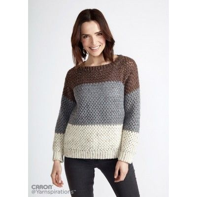 Stepping Stones Crochet Pullover | Yarnspirations | Caron Simply ...