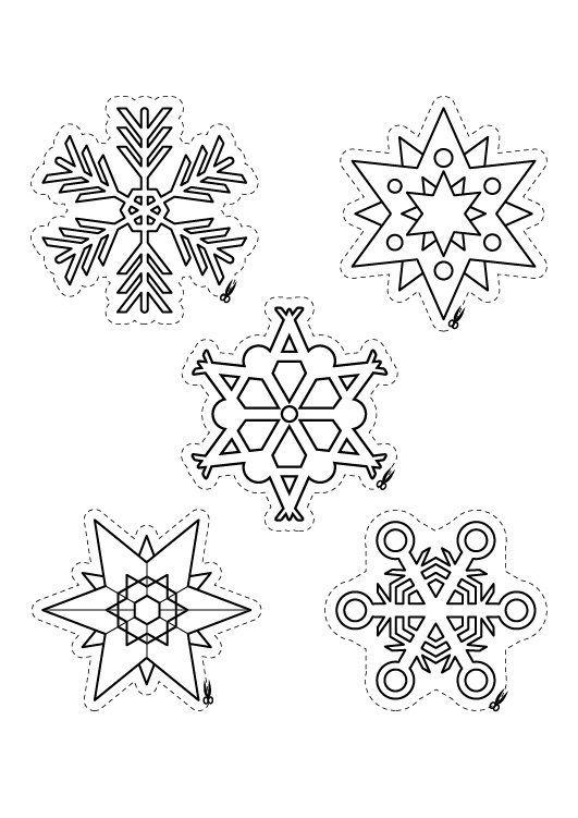 Copos y estrellas de Navidad: dibujos para colorear e imprimir | Tél ...