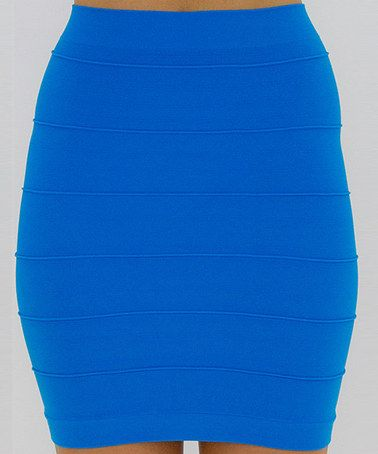 This Turquoise Line-Texture Skirt is perfect! #zulilyfinds
