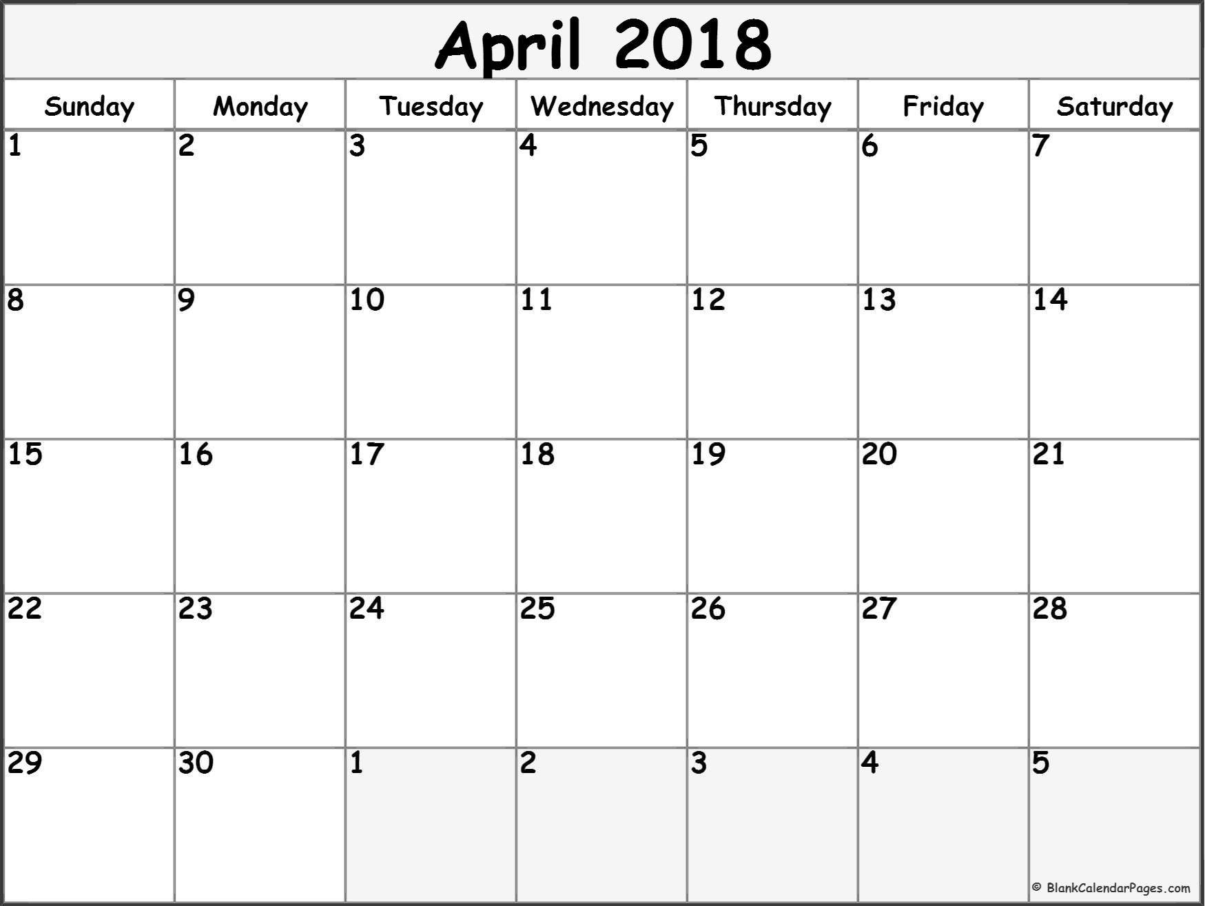 april #2018 #calendar #printable #calendario | Printable calendars ...