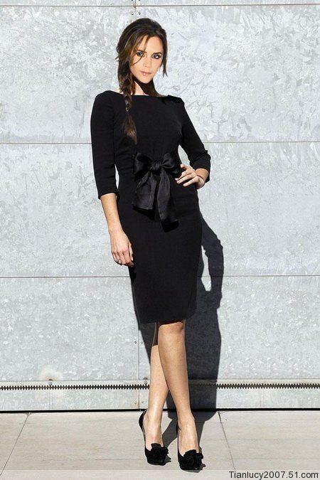 Free Shipping Top Quality Fashion Slim Elegant Victoria Beckham Bow Dress Women S Pencil Black Casual Jpg 450 Victoria Beckham Victoria Beckham Style Fashion