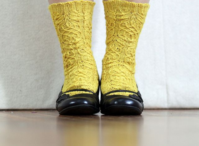 Twisted Flower Socks by knottygnome, via Flickr