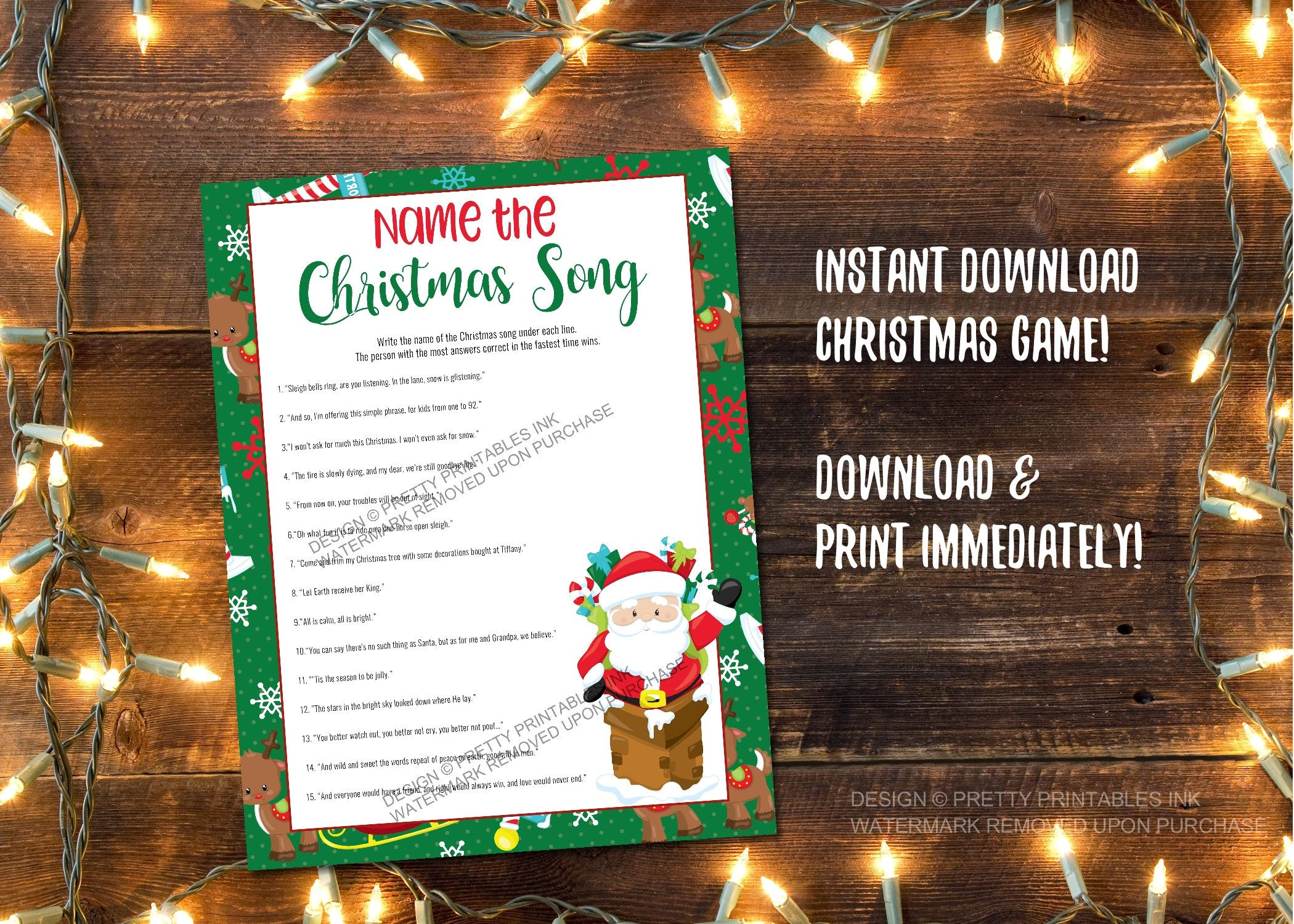 Instant Download Christmas Song Game Printable Christmas Carol Quiz Christmas Party Game Name That Christmas Song Printable Christmas Games Christmas Song Games Christmas Carol Quiz