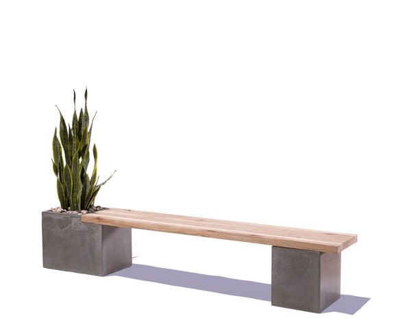 Concrete/Wood Planter Bench By Tao Concrete   Modern   Outdoor Stools And  Benches   Etsy