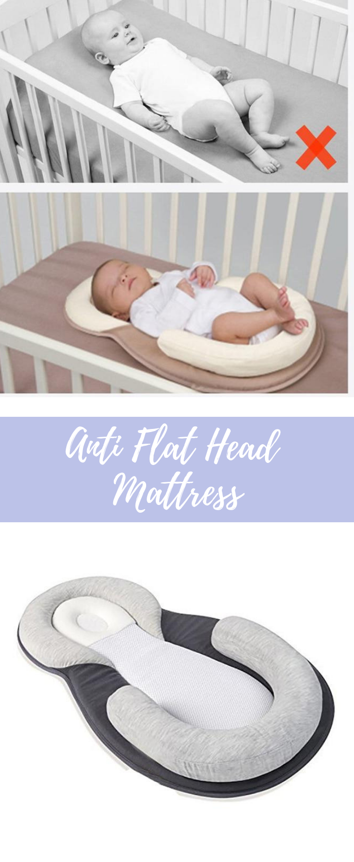 Anti Flat Head Baby Mattress Positioning Baby Pillow Ultimate Comfort Soft And Breathable Fabric Allow For P Baby Mattress Flat Head Baby New Baby Products