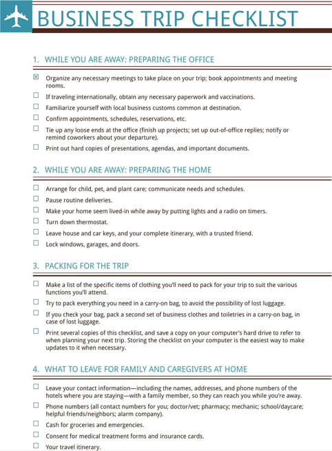 business trip checklist templates forms pinterest