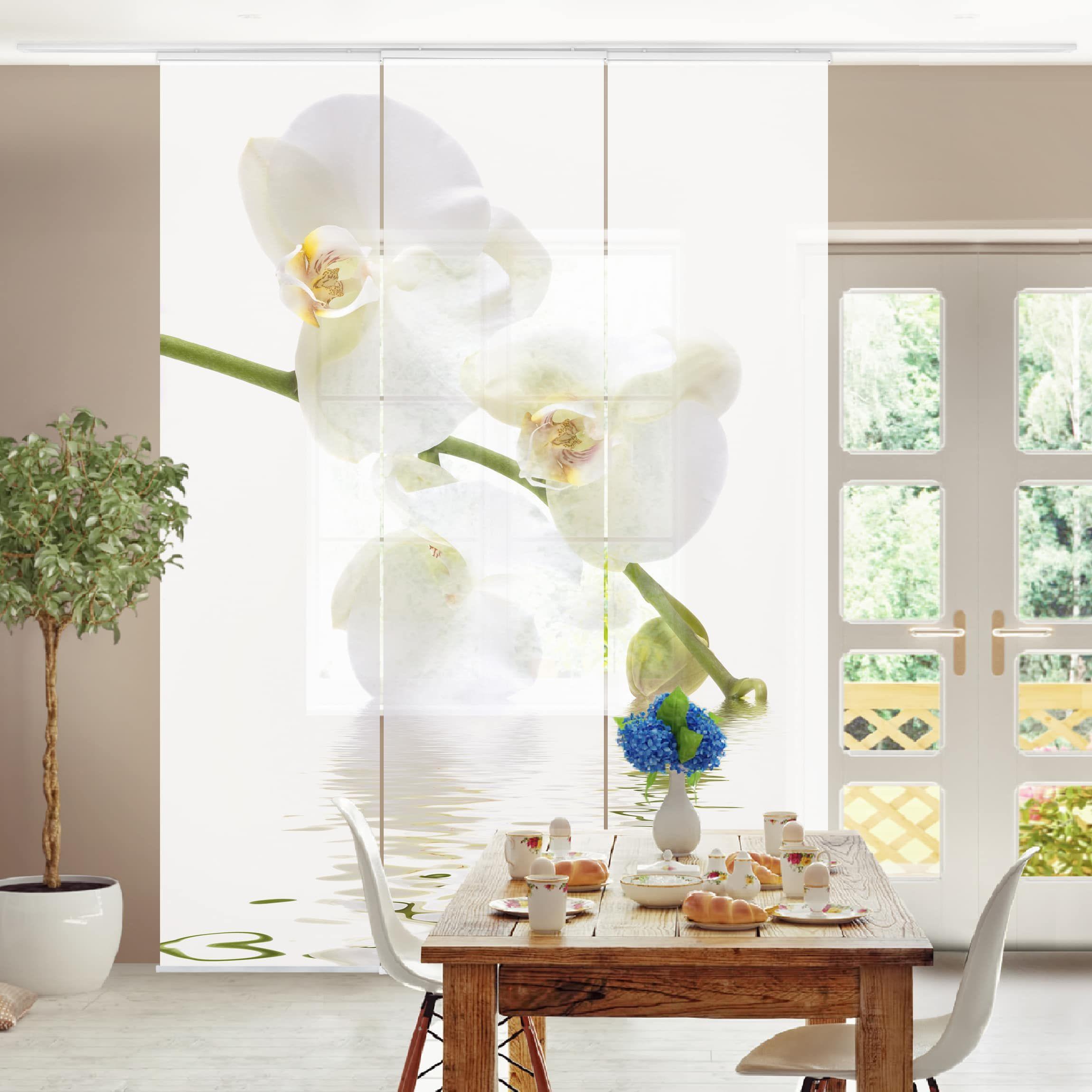 Montaggio Tende A Pannello.Tende Scorrevoli Set White Orchid Waters 3 Pannelli
