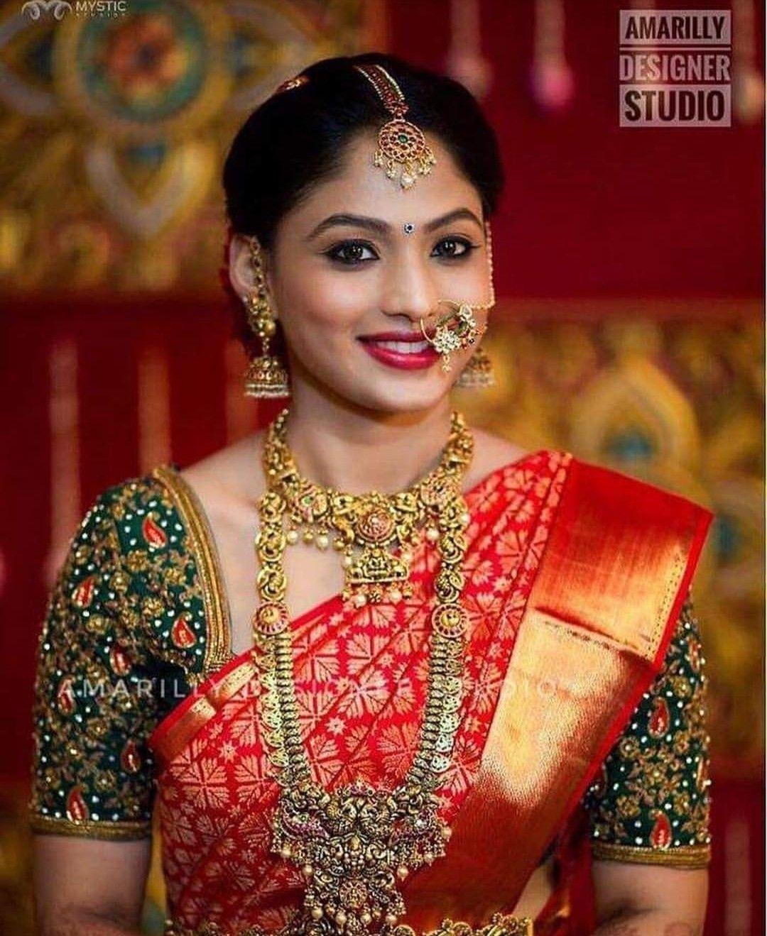 beutiful royal look kanchipuram saree for weeding wear sari with contrast  with blouse piece sari