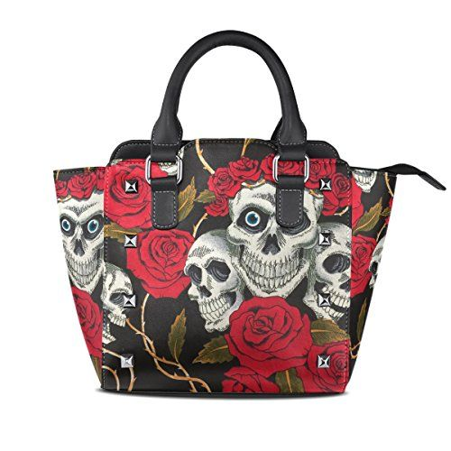 Ethel Ernest Skull And Flowers Day Of The Dead Womens Purse PU Leather Shoulder Tote Bag
