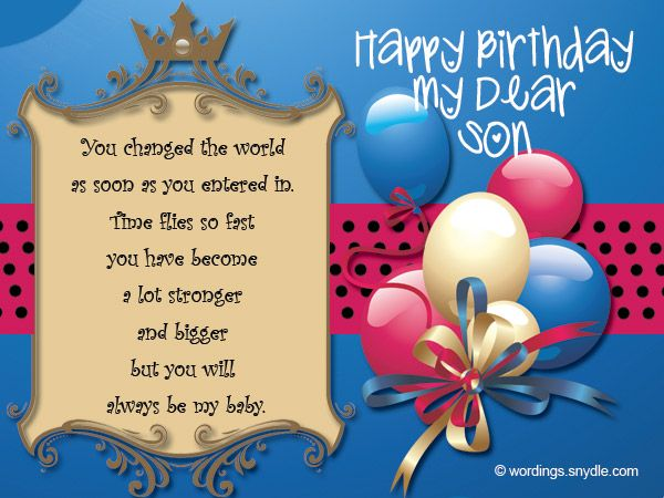 Birthday Wishes for Son Wordings and Messages – Birthday Greeting for Son