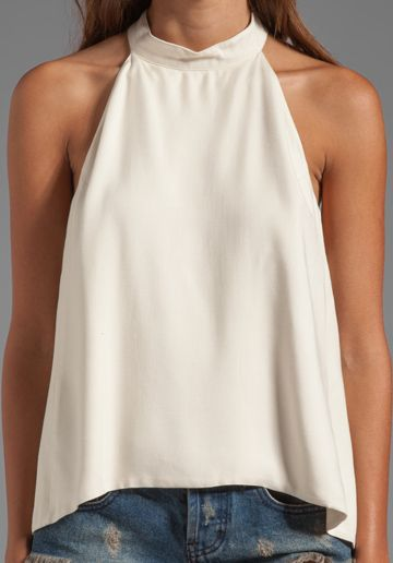 FOR LOVE & LEMONS Amelie Button Collar Sleeveless Top in Ivory - New