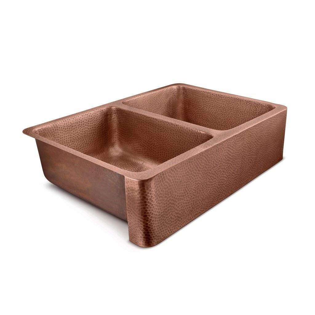 Sinkology S Copley Farmhouse Double Bowl Copper Sink Is Designed To Be Easy To Install Affordable In 2020 Double Bowl Kitchen Sink Copper Kitchen Copper Kitchen Sink