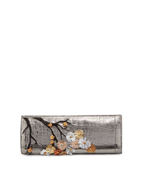 Cherry Blossom Crocodile Razor Clutch Bag, Anthracite