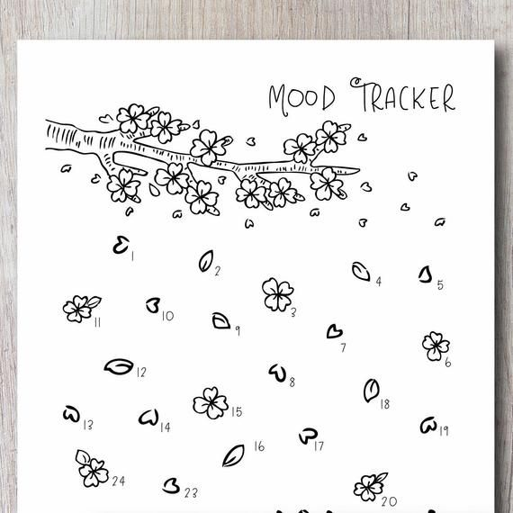 Mood Tracker Printable Insert - CHERRY BLOSSOM | Bullet Journal, Bujo, Planner Template | Instant Download PDF | Letter A4 A5 Size