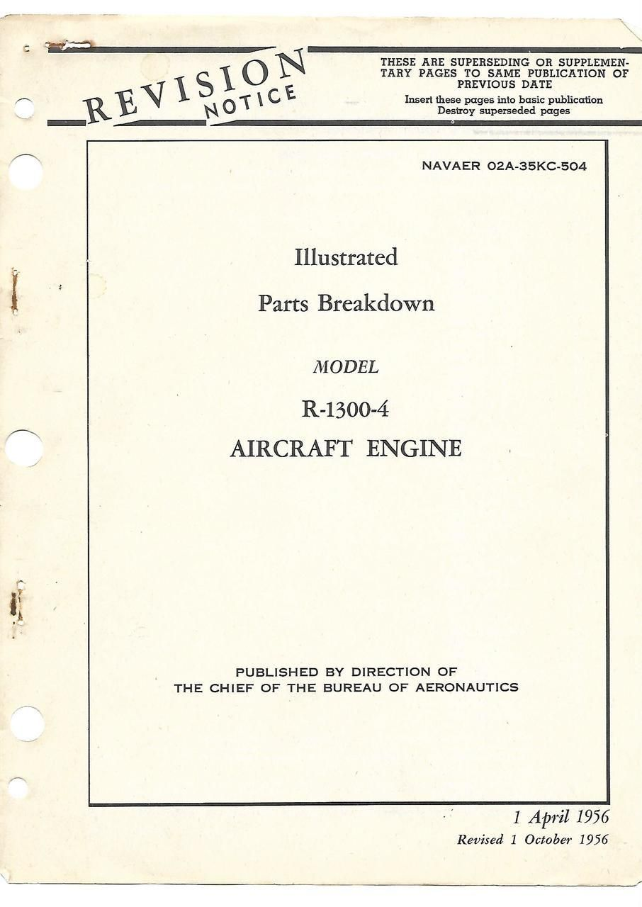 Wright R 1300 4 Aircraft Engine Illustrated Parts Breakdown Manual Helicopter Diagram 1956 Navaer 02a 35kc 504 Reports Manuals