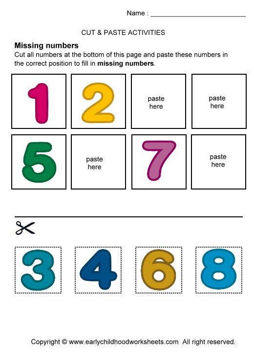 preschool cut and paste worksheets print this worksheet click printable number cut and. Black Bedroom Furniture Sets. Home Design Ideas