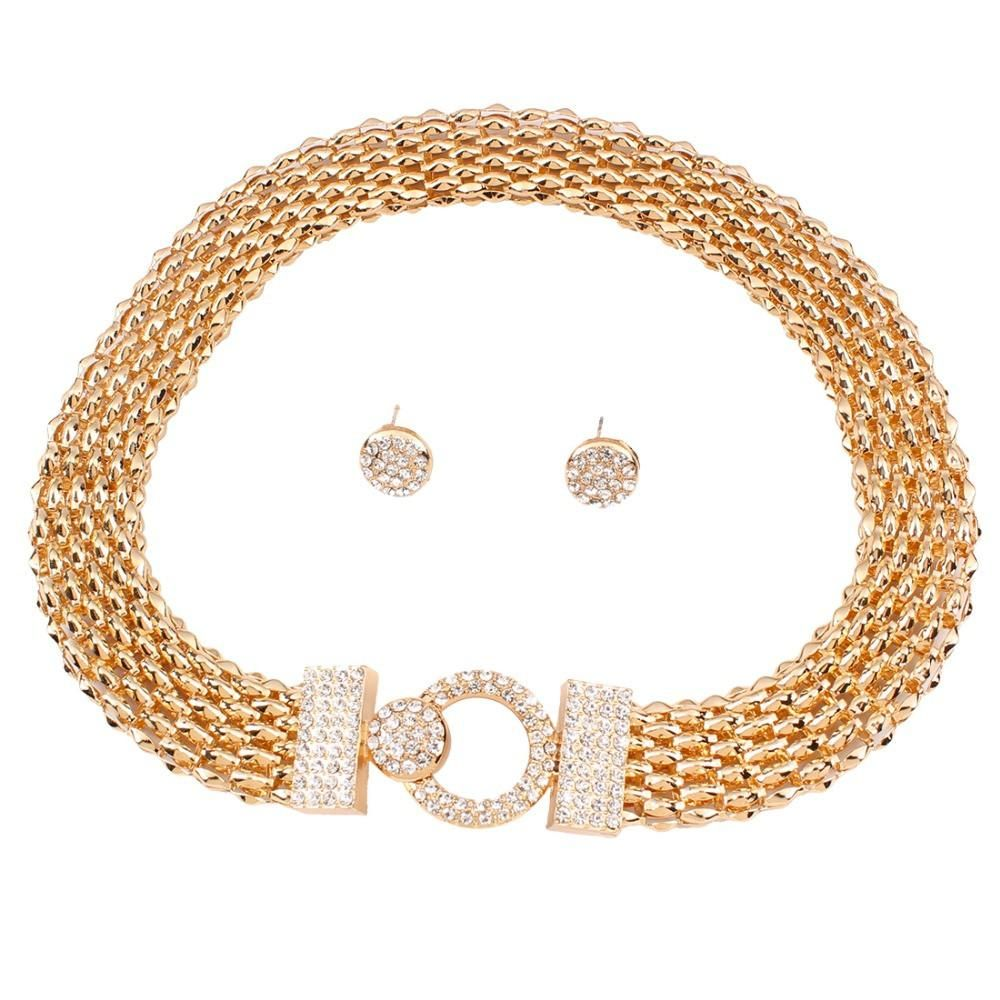 Crystal and gold necklace w earrings set products pinterest