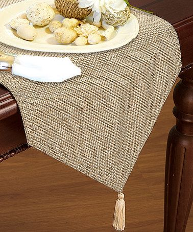 This Beige Gloria Basket Weave Table Runner is perfect! #zulilyfinds