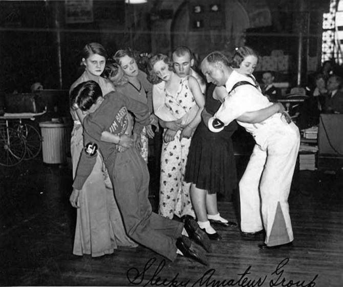 Early 1930s dance marathon contestants. A chance for food and money -  if they hang on.