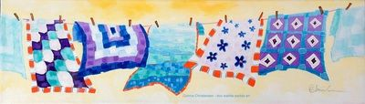 'Blue Quilts' 20x6  acrylic on canvas (unframed) $195 (+ shipping) Connie Christensen-doo wadda wadda art conniechristensen.ca
