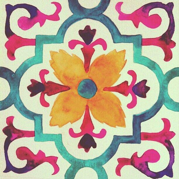 painted tile designs. Watercolor Tiles By Gabee Meyer, Via Behance Pattern,Patterns,Prints \u0026 Patterns, Painted Tile Designs T