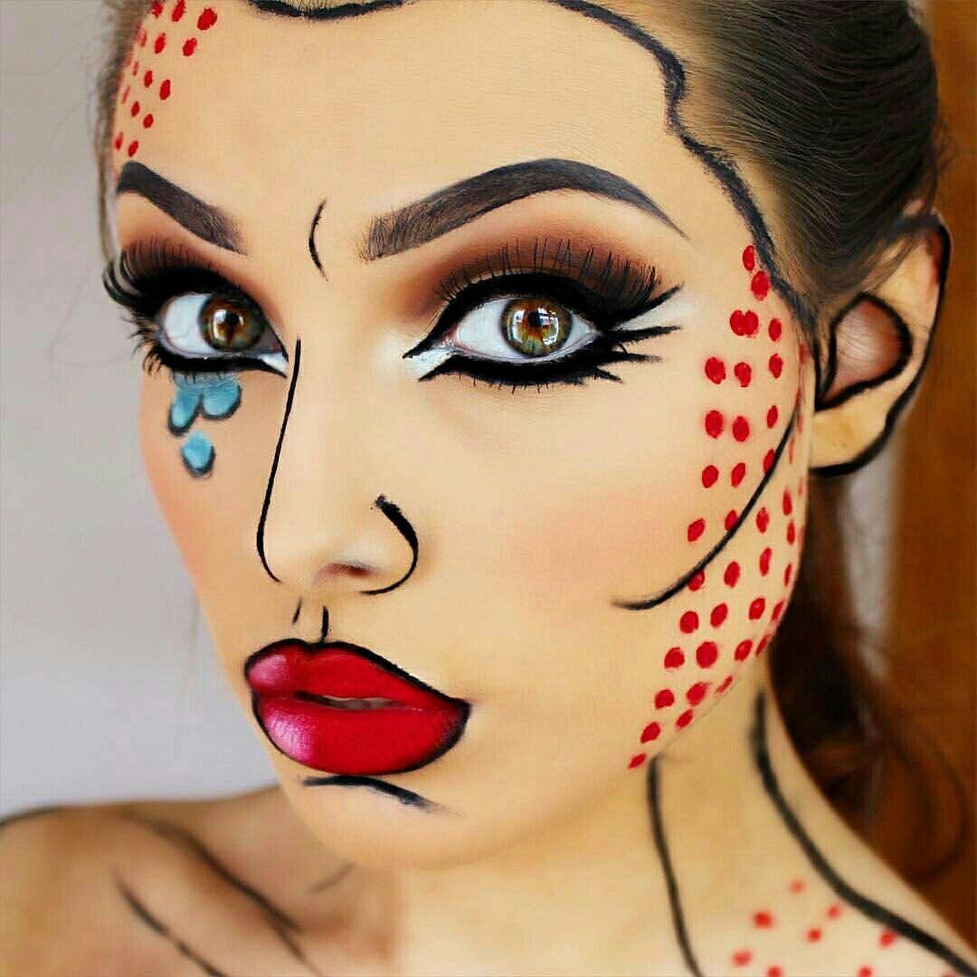 Popart Ou Cartoon Crazy Makeups Fantasy Makeup Pop Art Makeup Halloween Costumes Makeup