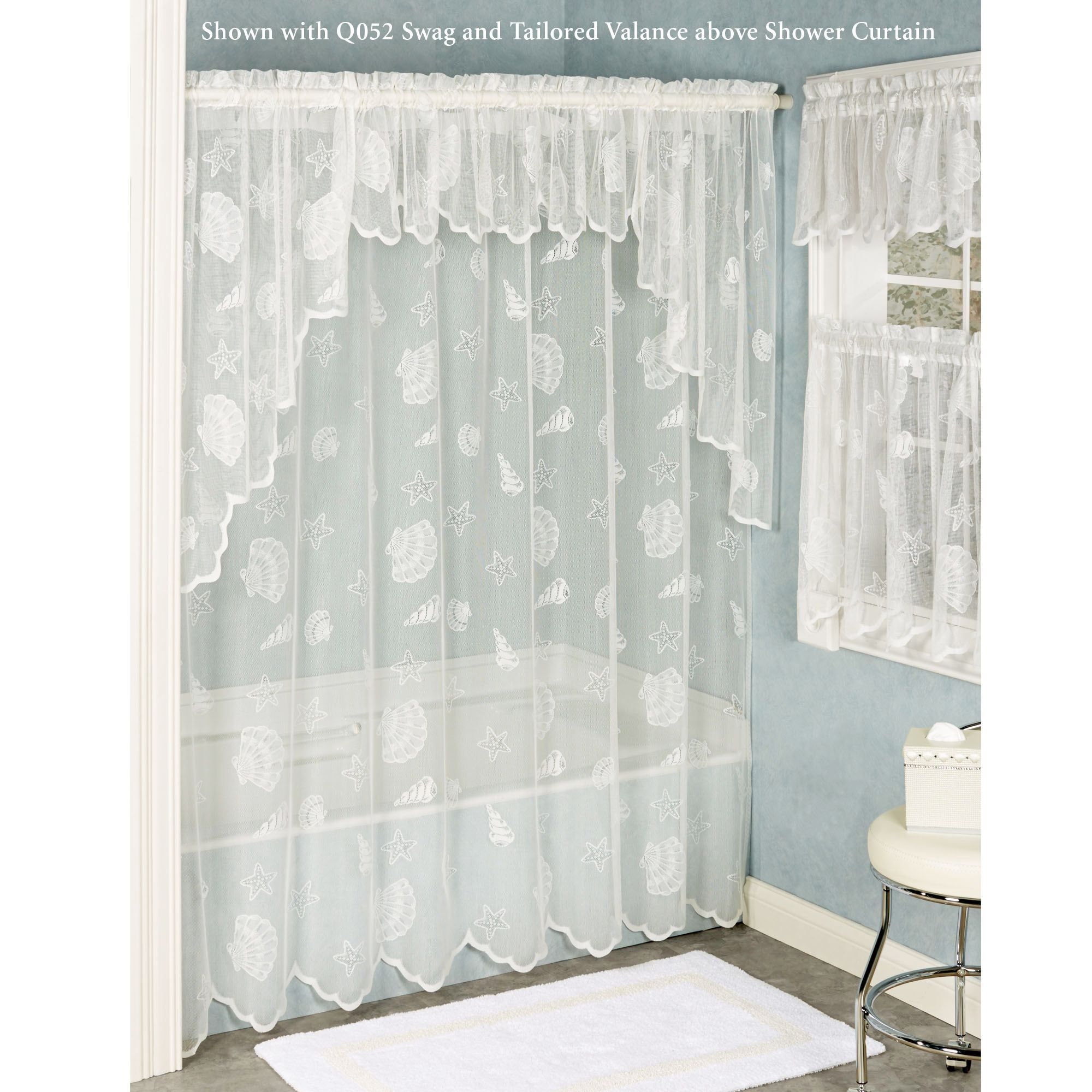 Seashells Lace Shower Curtain Lace Shower Curtains Shower