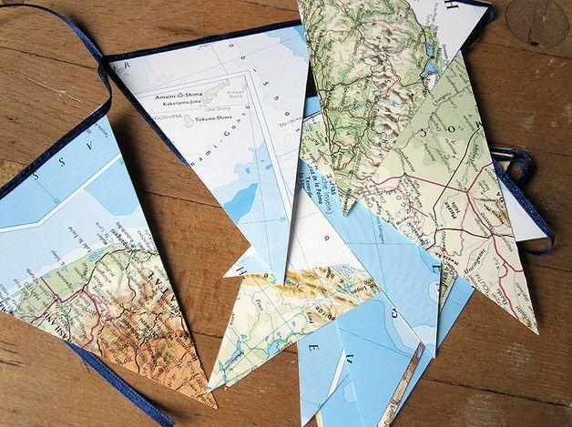 weltkarte atlas wimpelkette girlande hochzeit basteln karten und landkarte. Black Bedroom Furniture Sets. Home Design Ideas