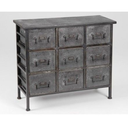 commode 9 tiroirs type industriel