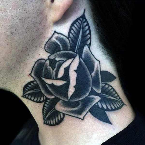 Black And Grey Shaded Rose With Leaves Tattoo Mens Neck Traditional Tattoo Man Traditional Tattoo American Traditional Tattoo