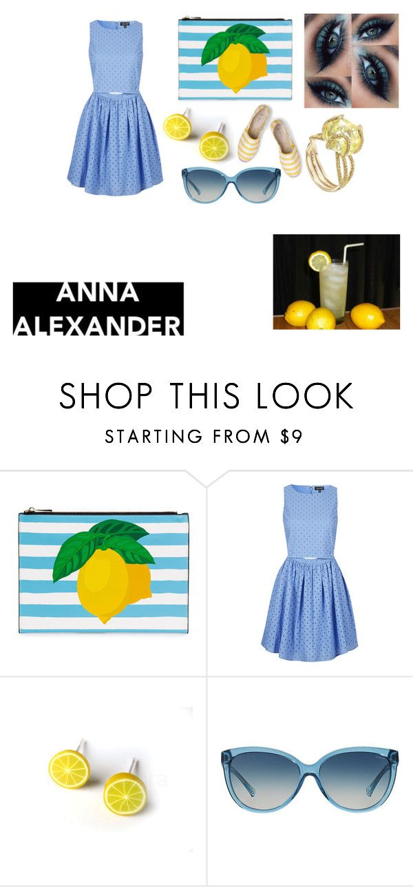"""""""A lunch date at country club,sippin lemonade,catchin upmon latest. gorgeous colornpallette, blues n yellows. love those lemon earrings. annaalexander.com"""" by im-karla-with-a-k ❤ liked on Polyvore featuring Topshop, Diamond in the Rough, Coach, Boden and country"""