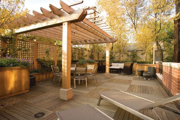 Screened In Pergola Deck Traditional With Audio Breakfast Brick Container