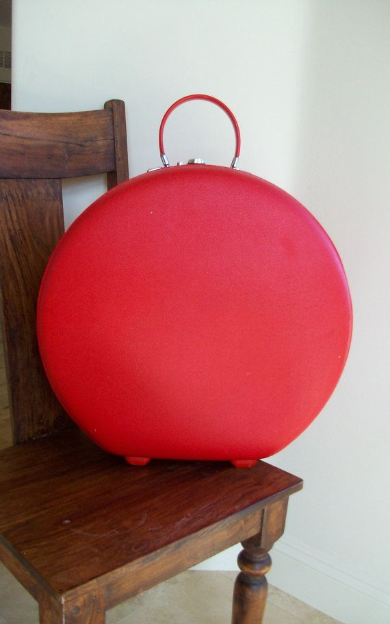 Vintage Red Round Suitcase American Tourist Tiara by UrbanRecycle ...