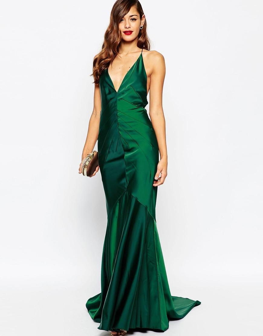 ASOS | ASOS RED CARPET Deep Plunge Soft Fishtail Maxi Dress at ASOS ...