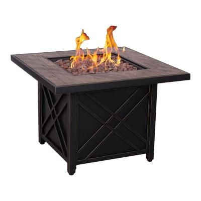 Endless Summer 30 In W Bronze Finish Steel Base Faux Slate Mantel Lp Gas Fire Pit With Electronic Igition And Lava Rocks Gad1401m With Images Gas Fire Pit Table Gas Firepit Fire
