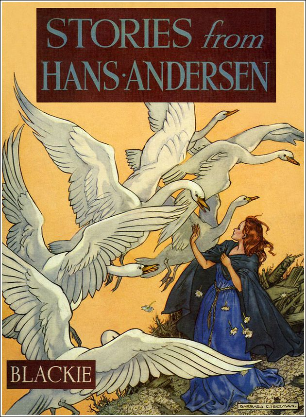"The Wild Swans -- Cover Illustration for ""Stories from Hans Andersen"" -- Barbara C. Freeman"