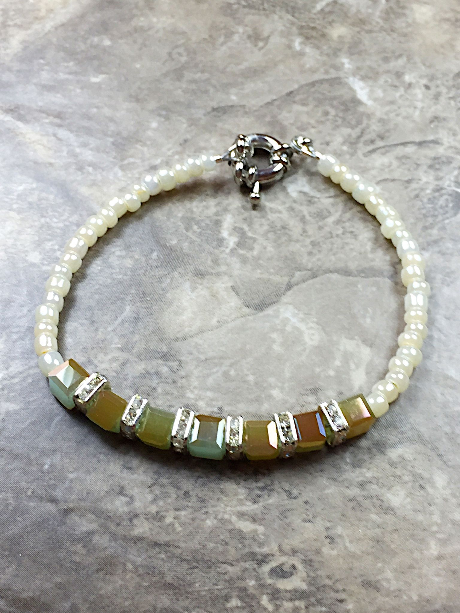Green multi color cube bracelet made with a green cube crystal and