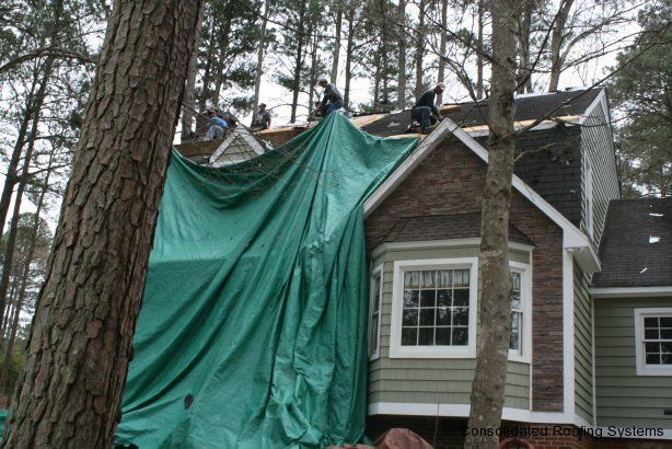 Crs Crew Members Installing The Tarps On This Home Before The Shingles Of The Original Roof Are Removed Architectural Shingles Roofing Contractors Photo Galleries