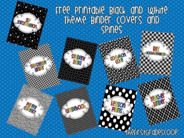 FREE printable binder covers and spines in a black and white theme