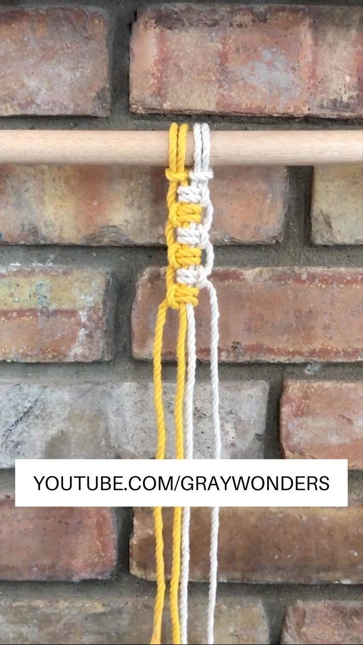Vertical Lark's Head Knot : Find more tutorials on my YouTube channel (Gray Wonders) #macrame #macrameknots #macrametutorial #macrameplanthanger #diy #diycrafts #macramediy #macramebracelets  #Vertical #Lark's #Head