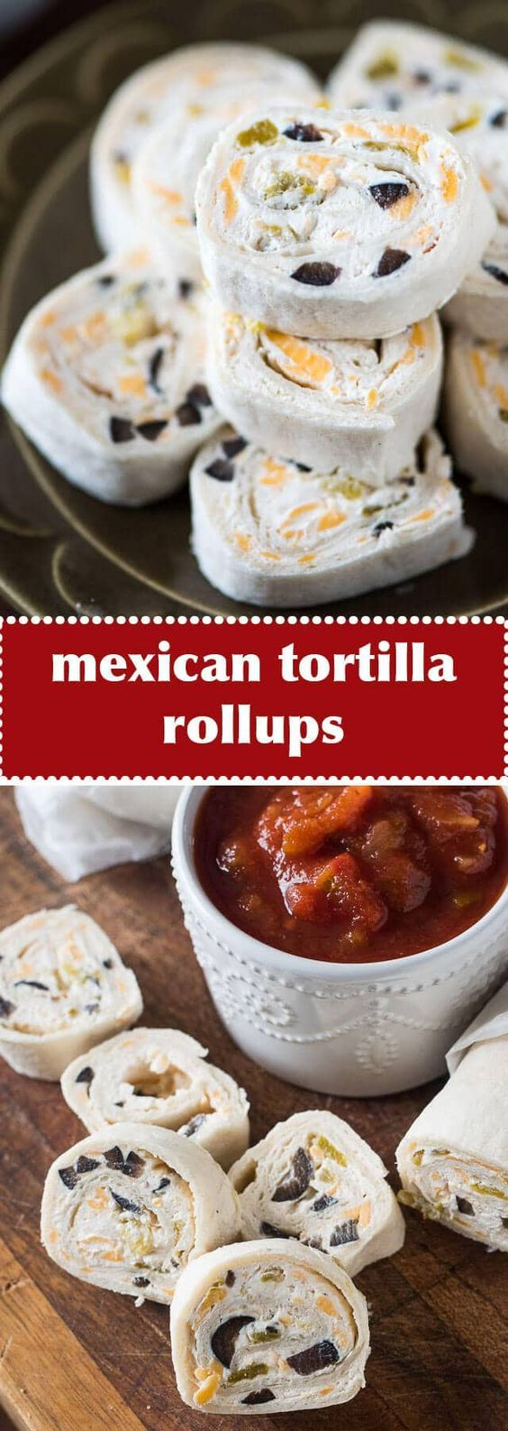 These bite-size Mexican Tortilla Rollups are an easy appetizer to share at a party. Roll up, refrigerate, slice and serve with salsa! #appetizer #pinwheels #rollups #mexican via @tastesoflizzyt